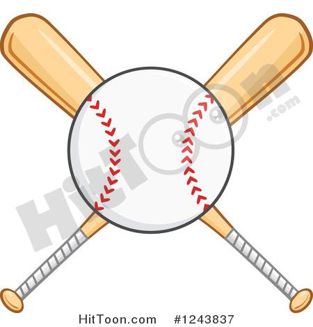 Baseball Clipart #1243837: Crossed Wooden Baseball Bats and a Ball.