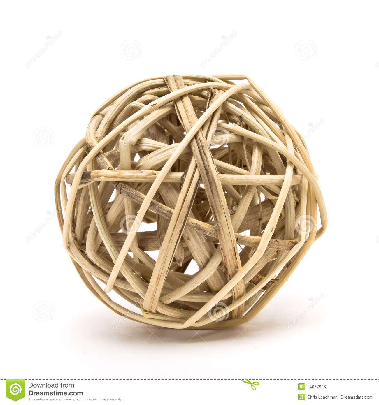 Woven Wood Ball Royalty Free Stock Image.