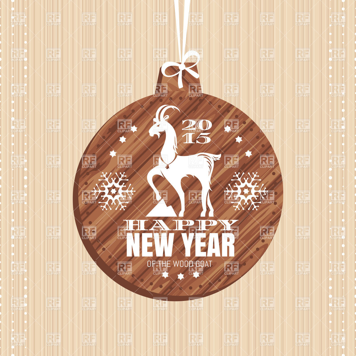 New Year greeting card with decorated wooden christmas ball with.