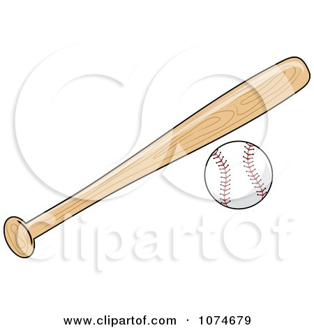 Clipart Wooden Baseball Bat And Ball.