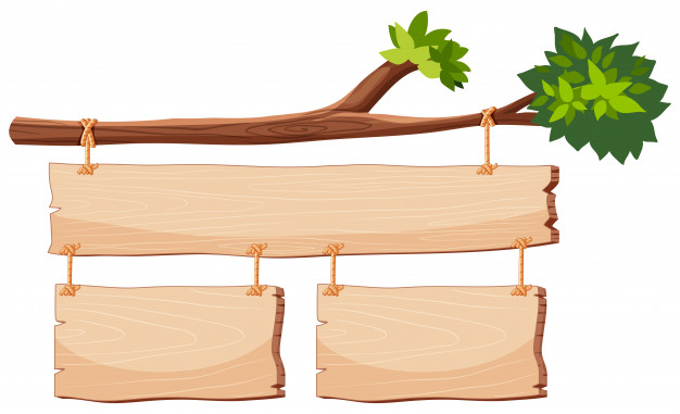 Wooden banner on tree branch Vector.