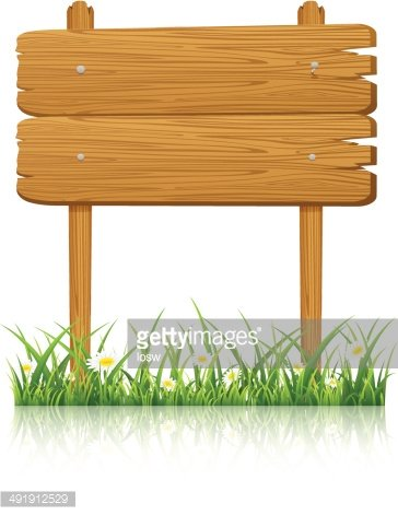 Wooden banner in grass with flower Clipart Image.