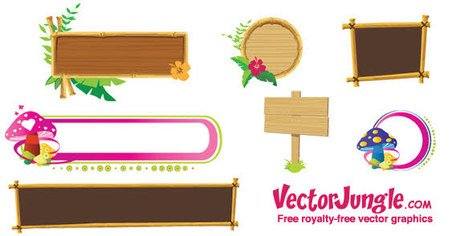 Wooden banner frames Clipart Picture Free Download.