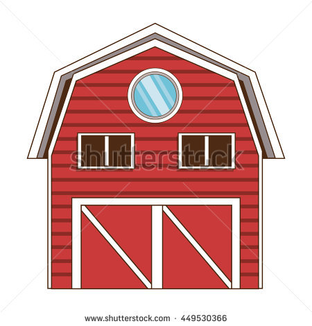 Illustration Red Barn House On White Stock Vector 136324526.