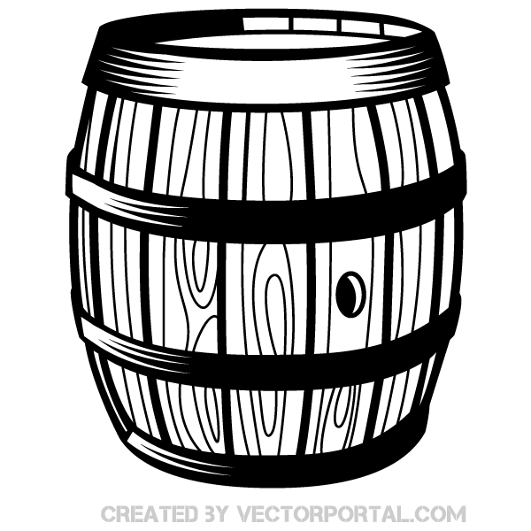 Wooden Barrel Vector Art.