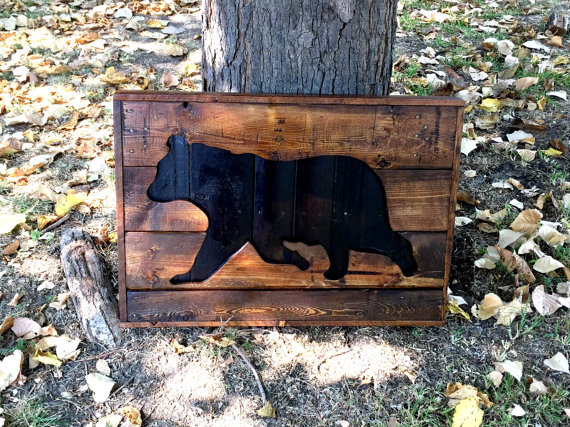 Bear Silhouette Wood.