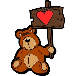 Happy bear (colour) clipart, cliparts of Happy bear (colour.