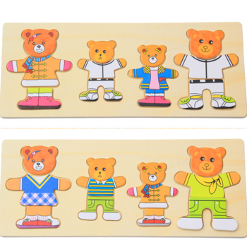 Wooden Bear Family Dressing Jigsaw Puzzle Dress Changing Creative Diy Gifts.