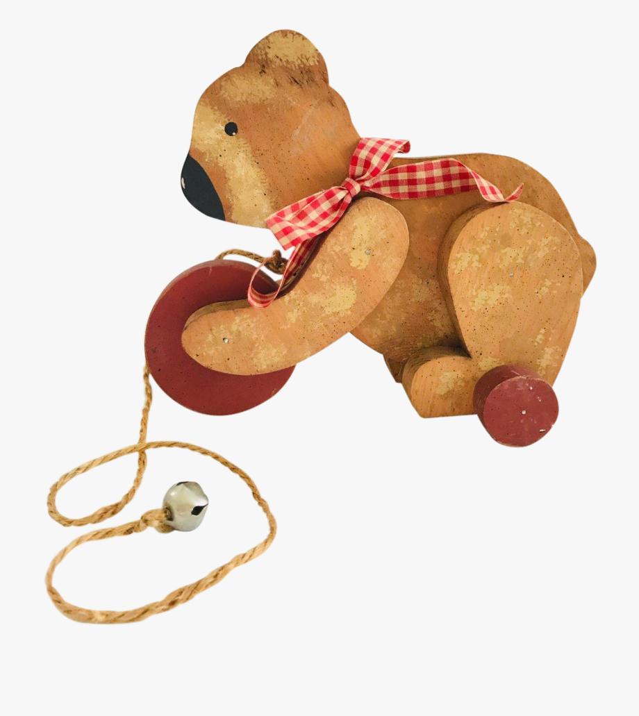 Toy Wooden Teddy Bear On Rolling Wheels.
