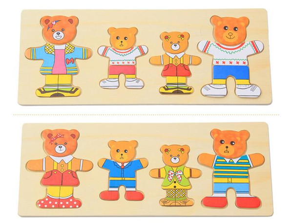 2019 Deluxe Bear Family Change Clothes Wooden Dress Up Play Set Jigsaw  Puzzles Kids Children Educational Toys From Toysworld2011, $7.04.