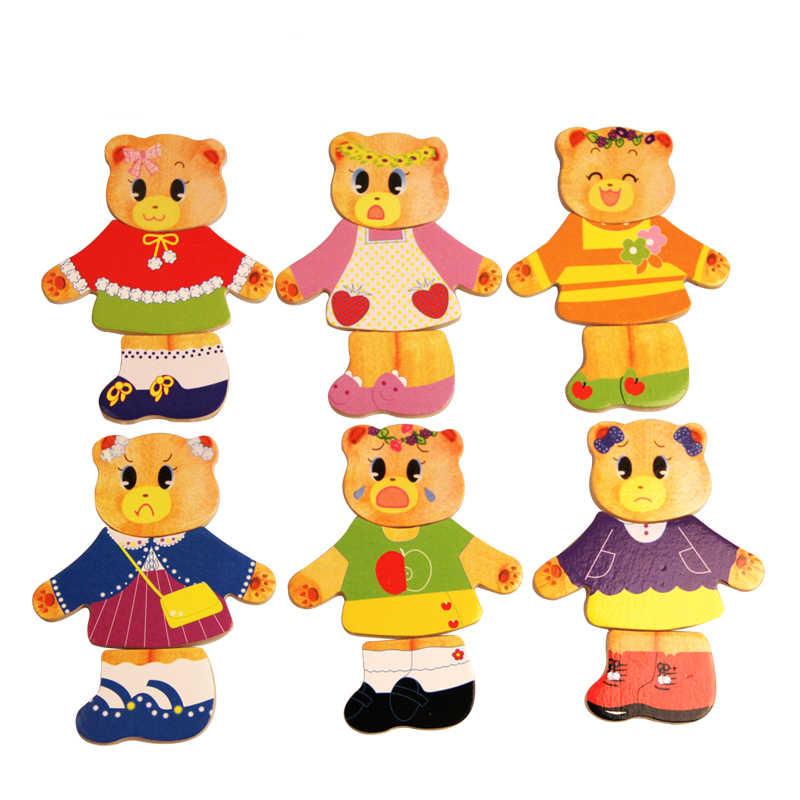 BBK Wooden Bear Change Clothes Classic Bear Family Dress.