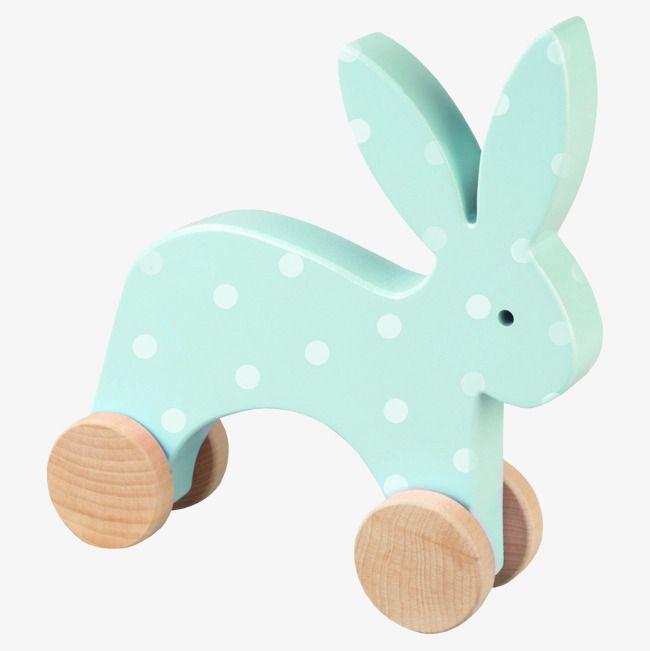 Blue Wooden Toy Rabbit.