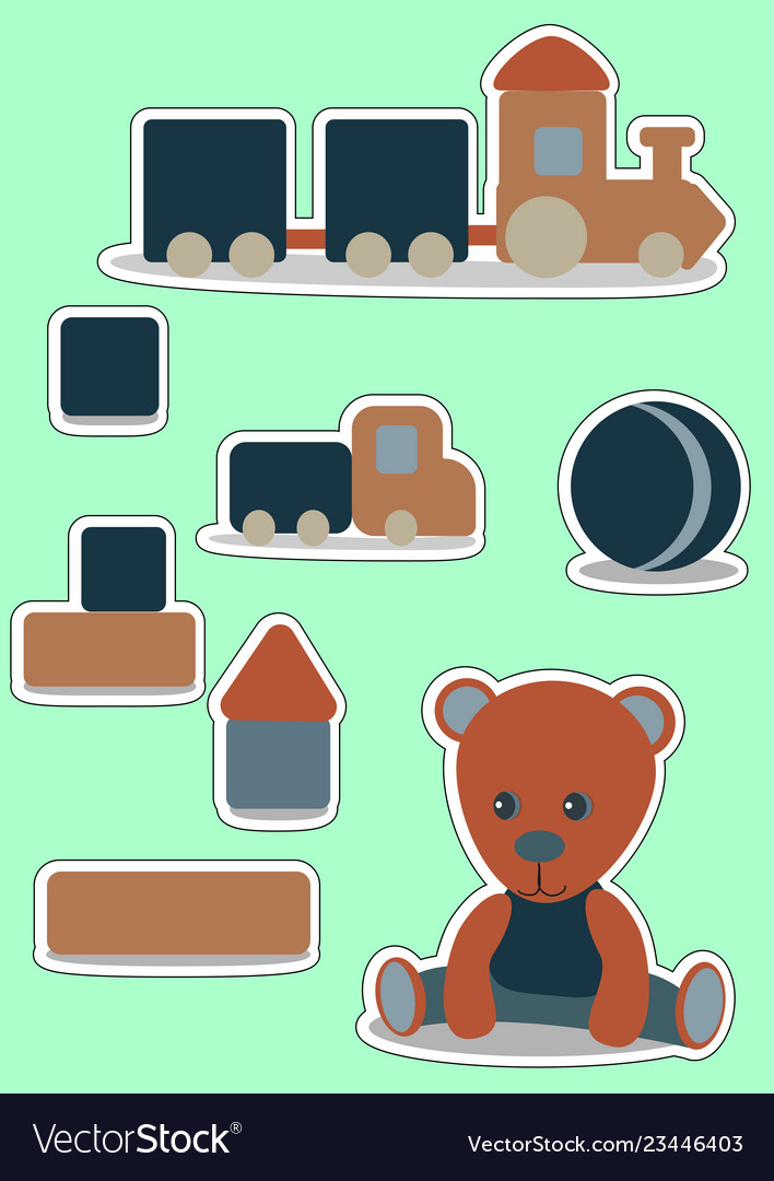 Teddy bear set sticker for boy wooden toys.