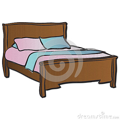 Wooden Double Bed Royalty Free Stock Image.