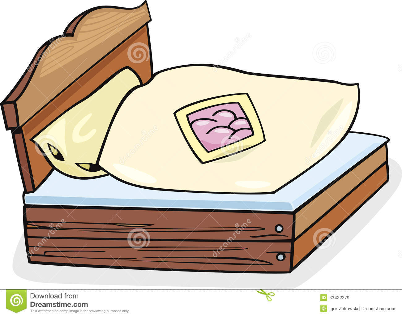Bed Furniture Cartoon Illustration Royalty Free Stock Images.