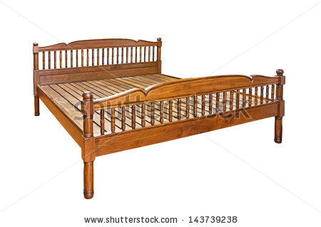 Wooden Bed Stock Photos, Royalty.