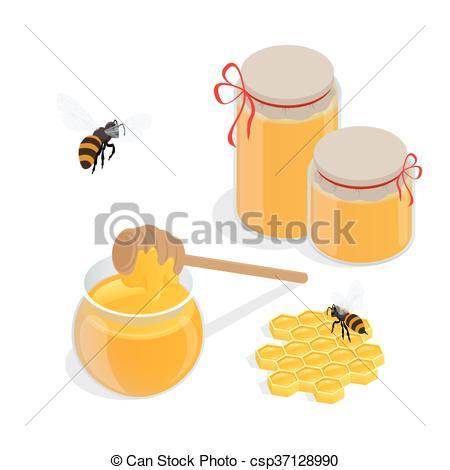 EPS Vectors of Glass jar full of honey and wooden honey dipper.