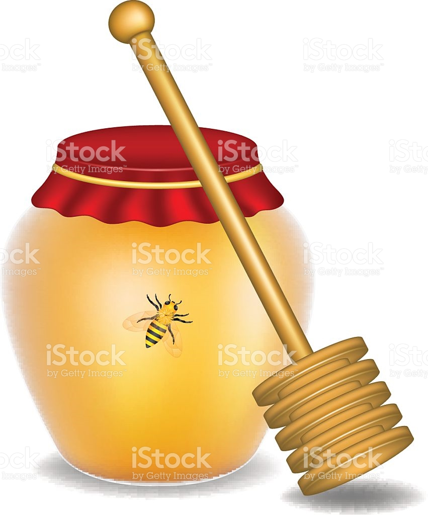 Sweet Honey Honey Bee And Wooden Honey Dipper stock vector art.