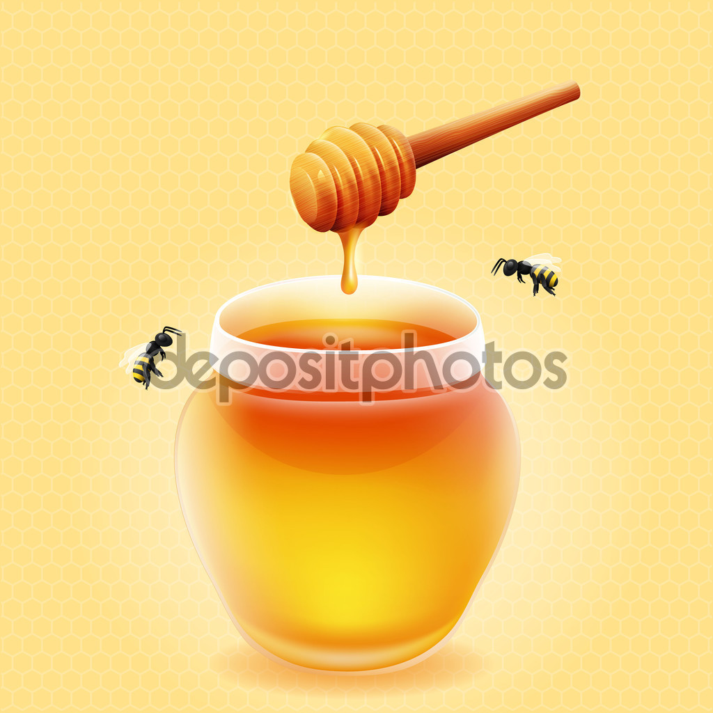 Vector jar of honey with wooden honey dipper and bees. — Stock.