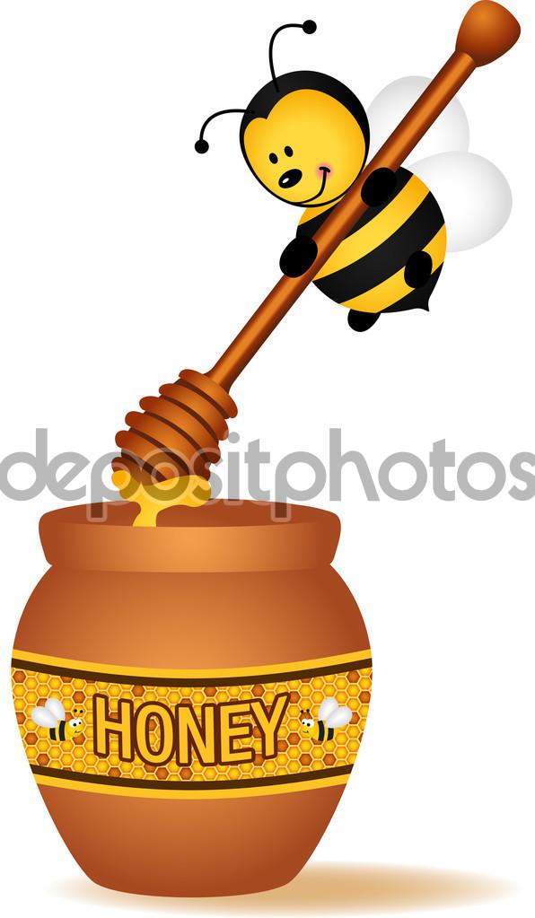 Bee carrying a wooden honey spoon — Stock Vector © socris79 #94720014.