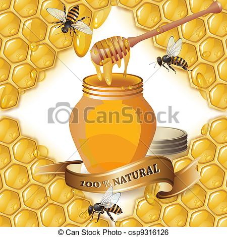 Clip Art Vector of Jar of honey with wooden dipper, bees and.