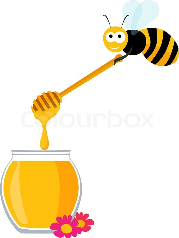 Vector graphics with a cute bee carrying a wooden honey spoon and.