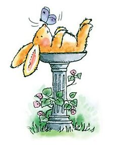 Details about Bunny Butterfly Bird Bath Wood Mounted Rubber Stamp PENNY  BLACK 3616J New.