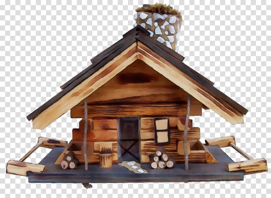 bird feeder roof log cabin wood house clipart.