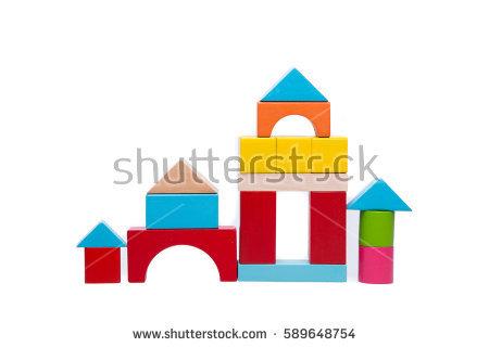 Wooden Block Building Game Castle Modern Stock Vector 411538762.