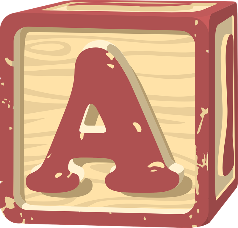 Clipart of wooden blocks with alphabet letter.