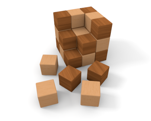 Building a house with wooden blocks clipart.