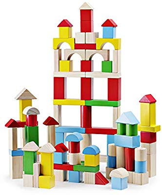 SainSmart Jr. 100Piece Wooden Building Blocks Construction Toys with Bright  Color & Various Shapes Stacking Blocks from 18 Months, Early Educational.
