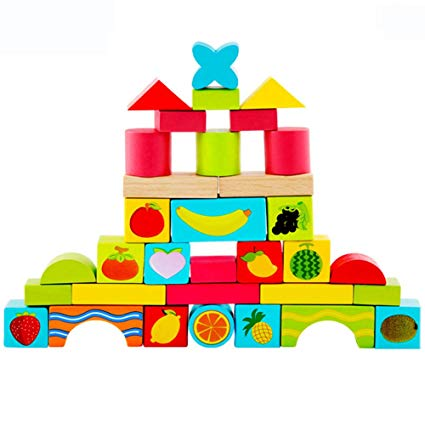 Amazon.com : Fullfun 33Pcs Wooden Building Puzzle Blocks Set.