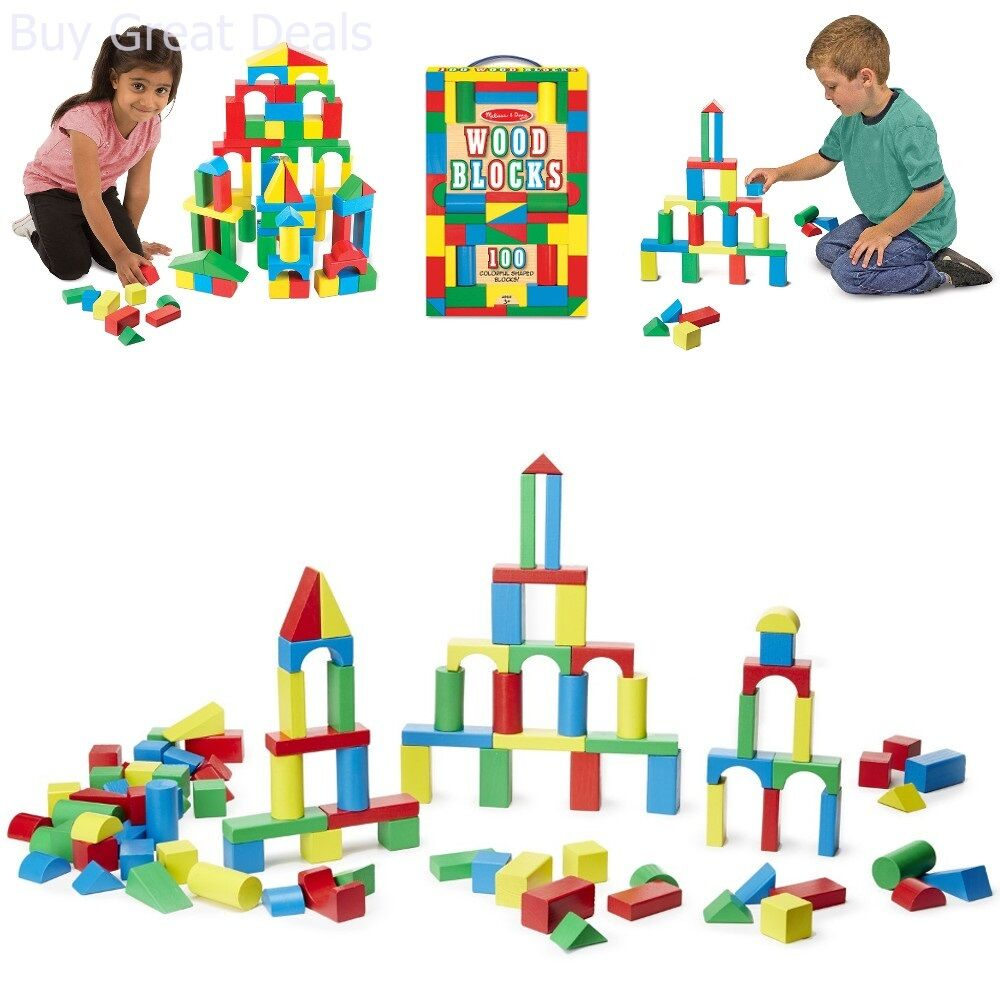 Details about 100 Piece Melissa & Doug Wooden Building Blocks Toy Set  Classic Toys Kids New.