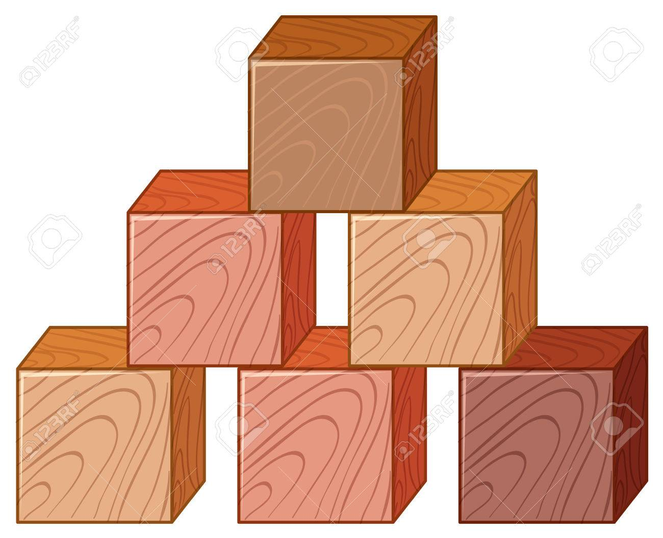 Wooden cubes in stack illustration.