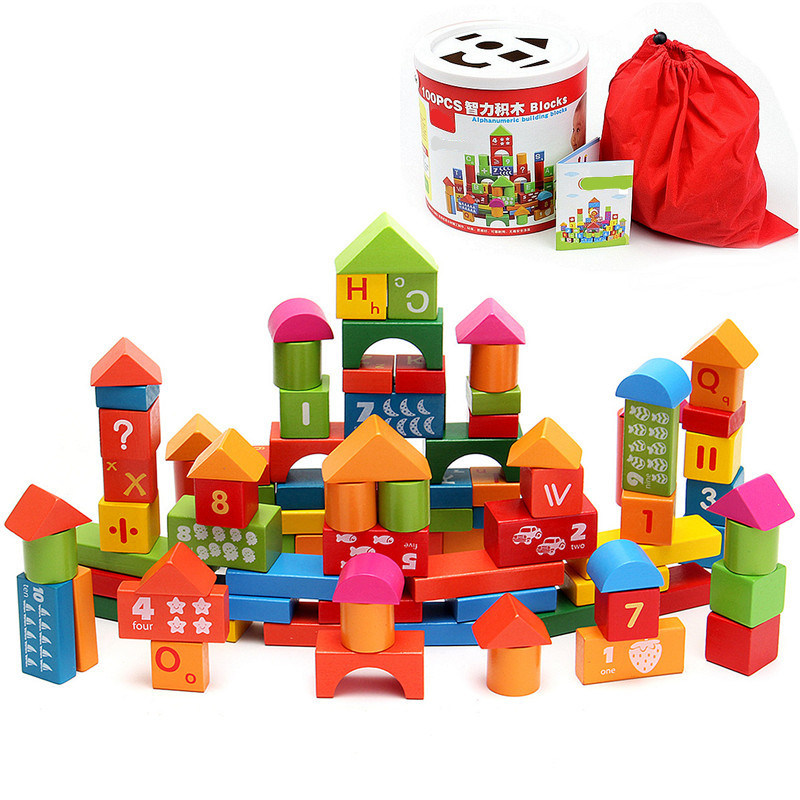 [Hot Item] 100 Piece Wooden Kids Educational Toy Colorful Letters Numbers  Building Blocks.