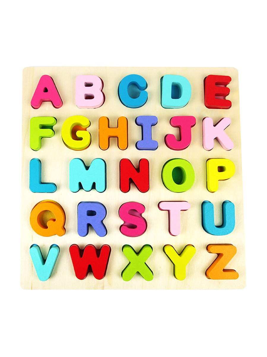 1 Pc Baby\'s Wooden Puzzle Toy Color Block Letters Numbers Learning Toy.