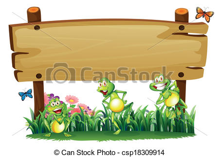 Vector Clip Art of An empty wooden board at the garden with.