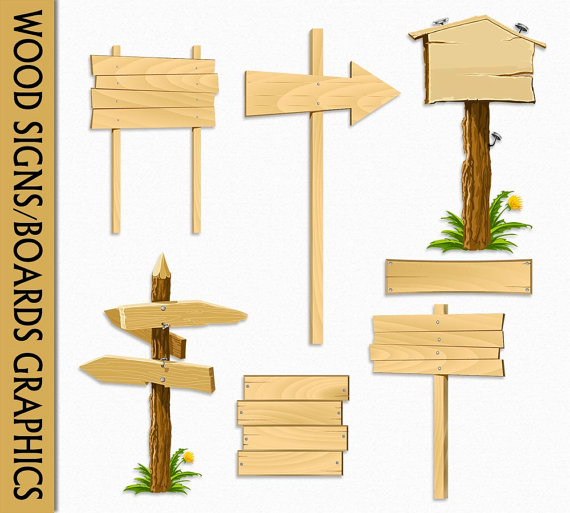 Wood Signs Clip Art Graphic Wooden Boards Clipart by CarmenClipArt.