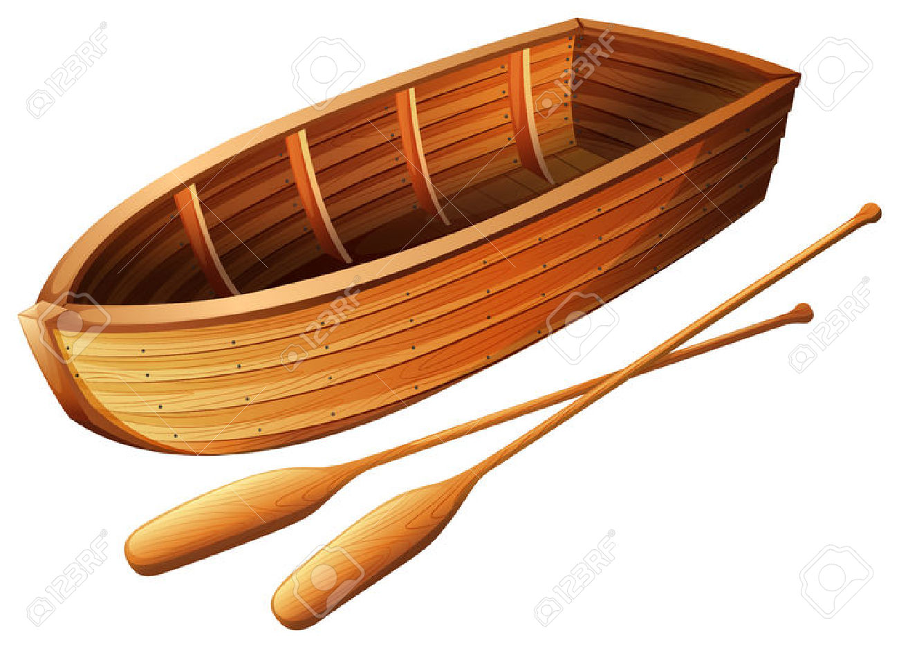 Wooden Boat On White Illustration Royalty Free Cliparts, Vectors.