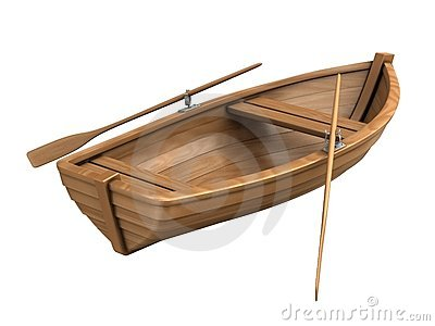 Brown Wooden Boat With Shadow Stock Illustration.