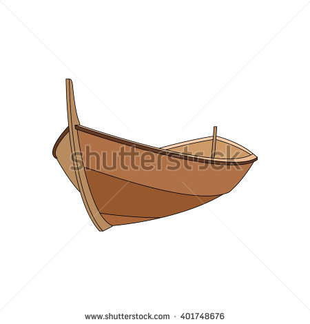 Silhouette of wooden boat clipart.