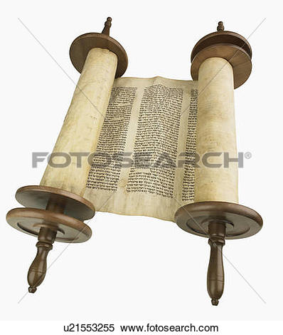 Stock Image of Studio shot of scroll on wooden spools u21553255.