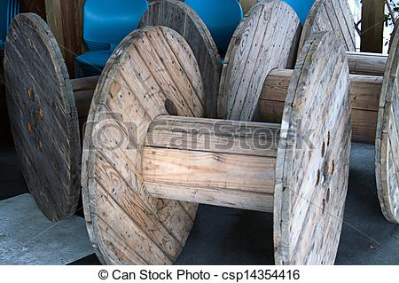 Stock Photography of Large Wooden Spools.