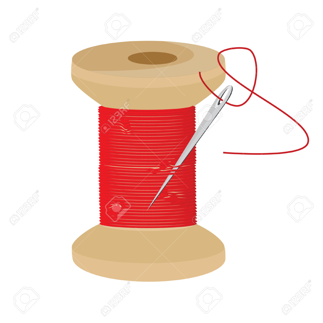 Red Thread Wooden Spool And Needle With Thread Raster Icon, Thread.