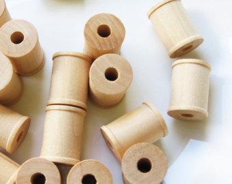 Wooden spools.