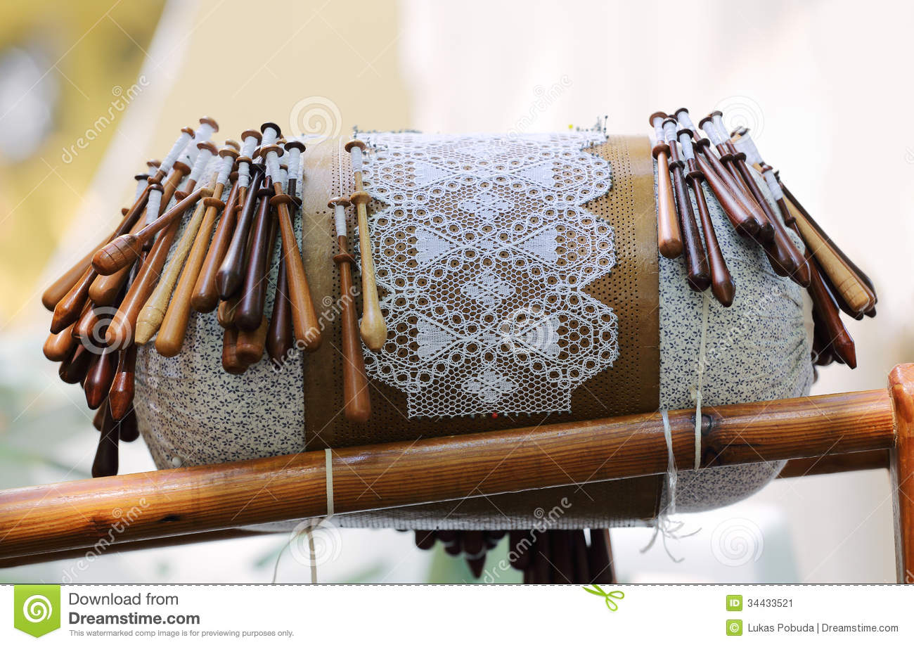 Wooden Bobbins For Bobbin Lace Royalty Free Stock Photo.