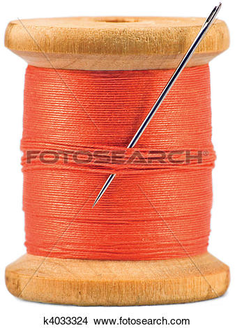 Stock Photo of Old wooden bobbin with red thread isolated k4033324.