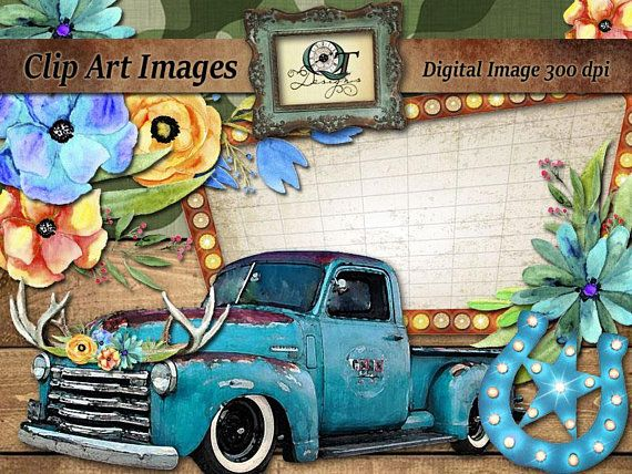 BOHO Western Clipart Vintage Blue Chevy Truck Marquee.