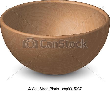Vectors Illustration of Vector illustration of wooden bowl.